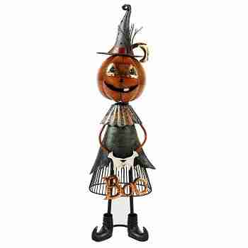 Jackolantern Witch Metal Boo Decoration