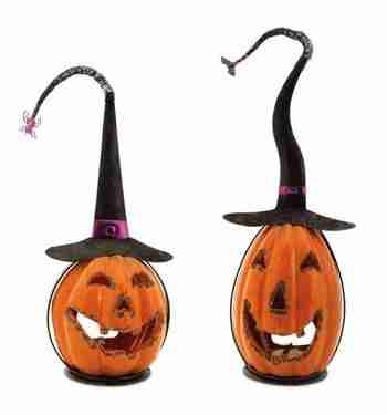 Set of 2 Scary Orange Crackle Finish Halloween Jack-O-Lantern Pumpkin Votive Candle Holders 15inch