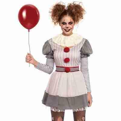 Women's 2 PC Creepy Clown Costume