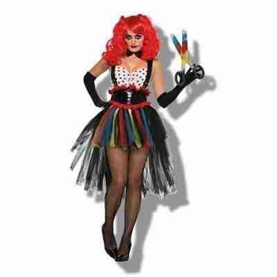 Women's Evil Girlie Clown Halloween Costume