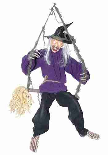 Kicking witch on a swing Halloween prop