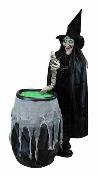 5.5 ft Touch Activated Lighted Stirring Witch Animated Halloween Decoration with Sound