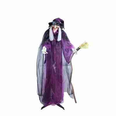 66 Inch Touch Activated Lighted Standing Witch With Broomstick