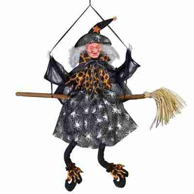 Animated Halloween Witch Hanging Decoration, Sound Activated with Light Up Eyes
