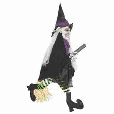 Animated Witch on Broom Halloween Décor
