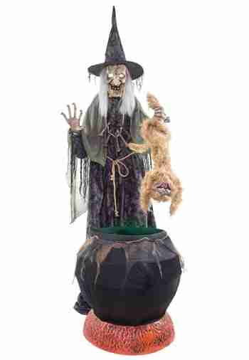 Cat-tastrophe Animated Halloween Witch Prop