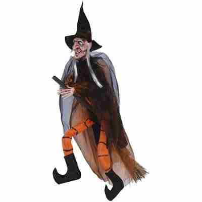Hanging Witch With Broom Halloween 35 Inch Prop, Orange Black