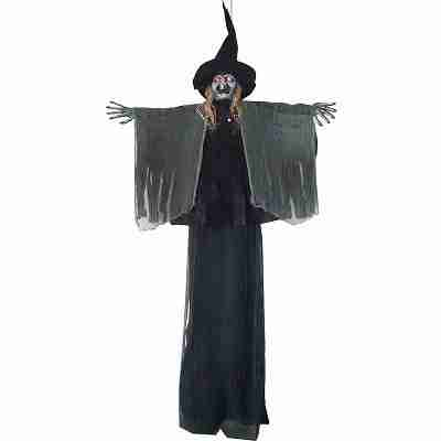 9 Ft Tall Light-Up Talking Hanging Scary Witch
