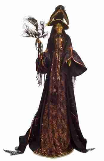 Pack of 2 Black and Orange Halloween Witch with Wicker Broom 46 inch