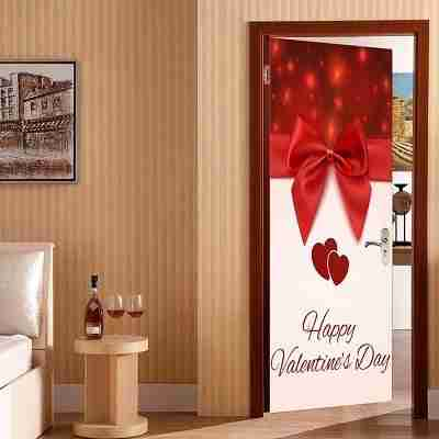 Bowknot Heart Pattern Valentines Day Door Stickers
