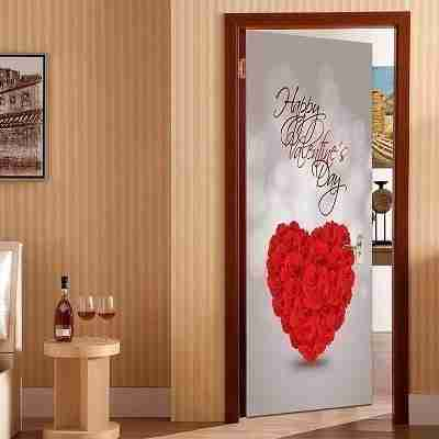 Happy Valentines Day Pattern Door Cover Stickers