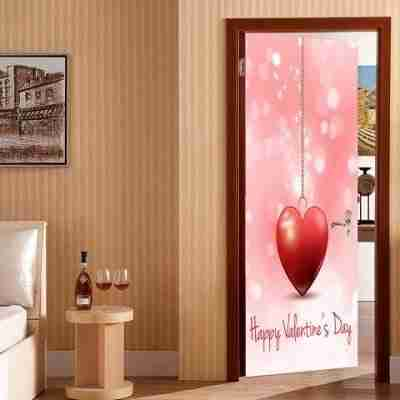 Heart Pattern Valentines Day Door Cover Stickers - Pink