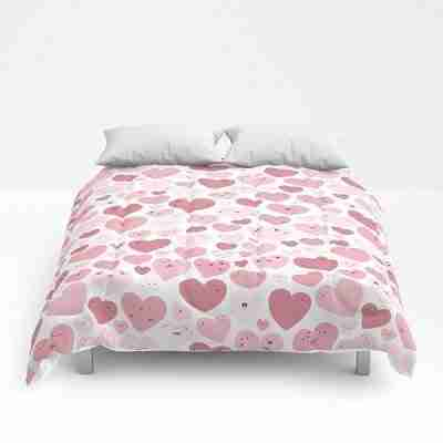 Lovely Hearts Doodle Comforter