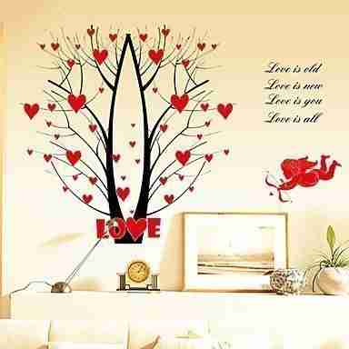 Red Hearts Cupid Romantic Wall Decal