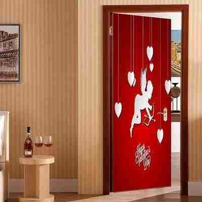 Romantic Cupid and Hearts Pattern Door Sticker
