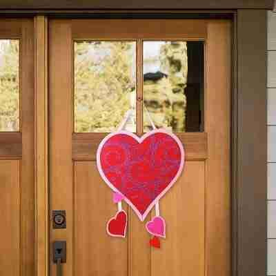 Valentine Hearts Felt Door Hanger
