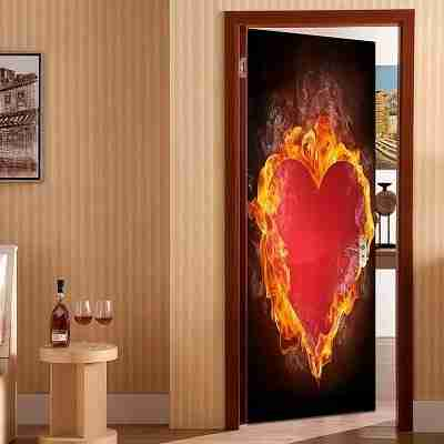 Valentine's Day Burning Heart Removable Door Sticker