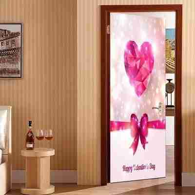 Valentine's Day Heart and Bowknot Pattern Enviromental Removable Door Stickers