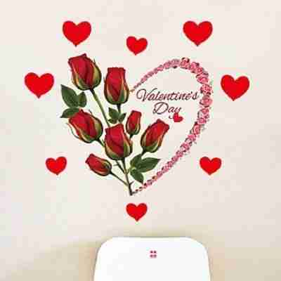 Valentine's Day Romance Rose Flowers Wall Stickers DIY Bedroom Wall Decals