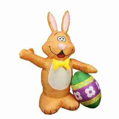4 ft Inflatable Lighted Bunny with Easter Egg