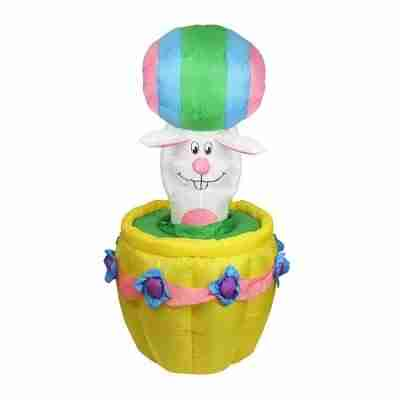 5.5 ft Inflatable Animated Easter Bunny Basket Lighted Yard Art Decoration