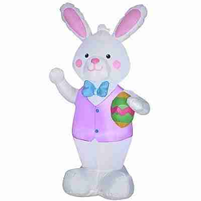 Airblown Inflatables 4 ft Bunny Holding Easter Egg