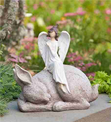 Angel on Bunny Statue
