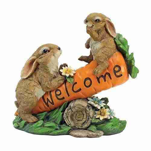 Bunny Bunch Welcome Sign Statue