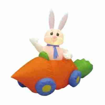 Easter Inflatable Rabbit in Carrot Car Decoration