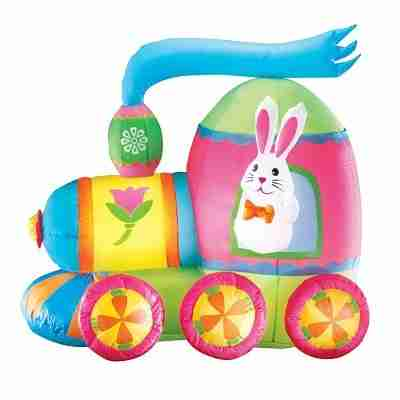 Inflatable Easter Bunny Train Outdoor Yard Decoration - 4 ft Long