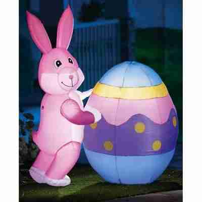 Lighted Inflatable Easter Bunny Egg Yard Decor