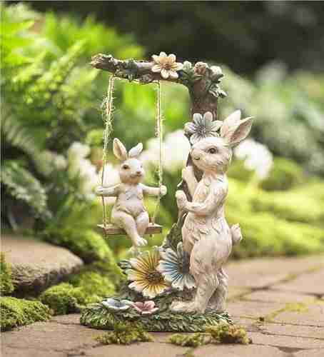Mama Bunny with Baby on Swing Figurine