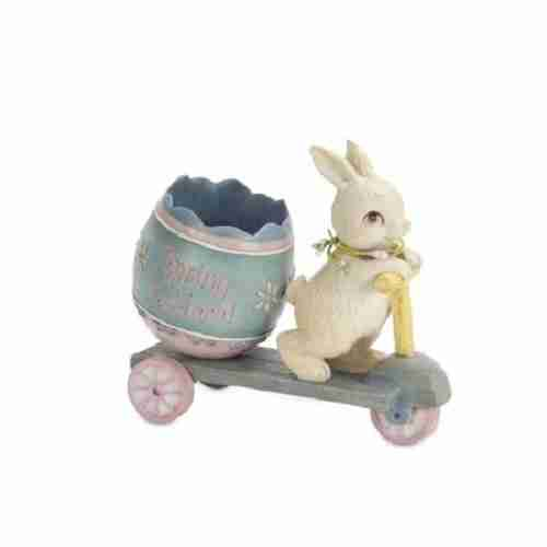 Pack of 2 Playful Springtime Bunny on a Scooter