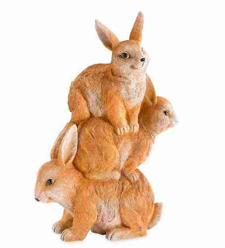 Stacked Bunnies Resin Sculpture