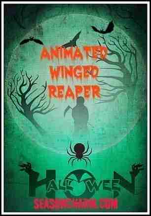 Animated Hanging Winged Reaper Halloween Prop