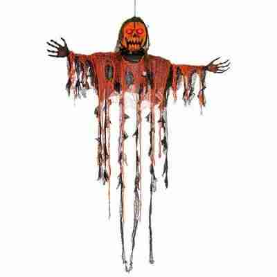 Animated Hanging Pumpkin Ghost Man with Moving Jaw, Light-Up Eyes & Sound - Prop Decoration