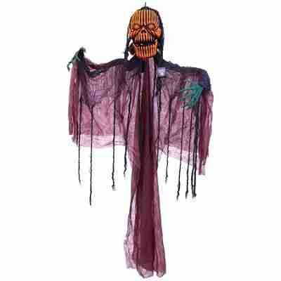 Halloween Haunters Animated Hanging Pumpkin Man with Moving Jaw, Light-Up Eyes & Sound - Prop Decoration