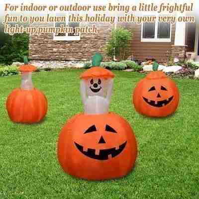 4ft Animated Halloween Inflatable Pumpkin and Ghost Yard Garden Decoration