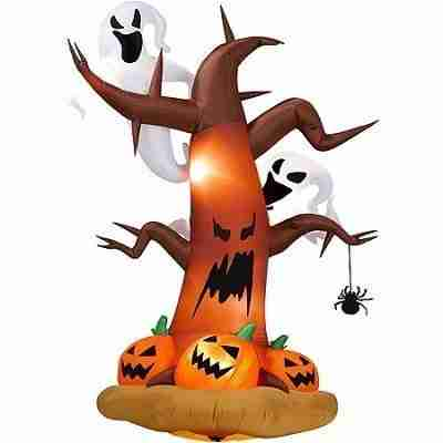 8 ft Tall Airblown Halloween Inflatable Dead Tree with Ghost on Top Pumpkins on Bottom