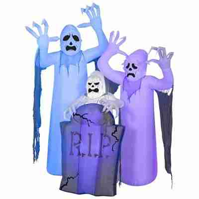 Halloween Airblown Inflatable ShortCircuit Ghosts Trio with Tombstone Scene