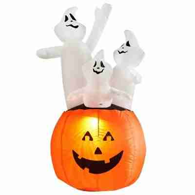 Halloween Decorations 4 Feet Inflatable Pumpkin Ghost Combo with LED Glow Light
