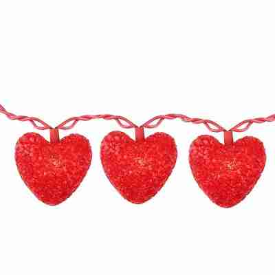 10ct Valentines Day Heart Holiday Lights, 7.5ft Red Wire