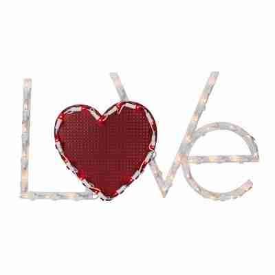 17 inch Lighted Love with Heart Valentines Day Window Silhouette