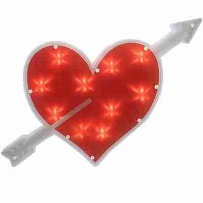 18 inch Lighted Red Heart with Arrow Valentine's Day Window Silhouette Decoration