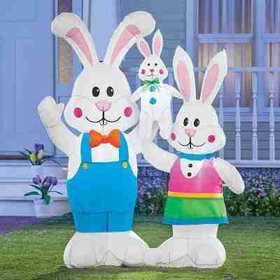Easter Inflatable Cute Bunny Family Decoration