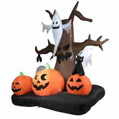 10 ft Water-proof Inflatable Dead Tree Latern with Horror Ghost Pumpkins Halloween Decoration