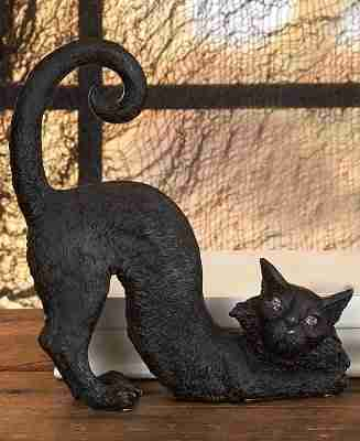 Halloween Black Cat Decoration with Lighted Red Eyes - Stretching
